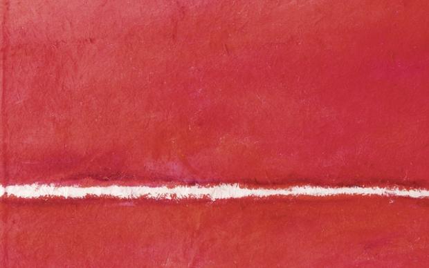 rotes Gemälde auf Japanpapier