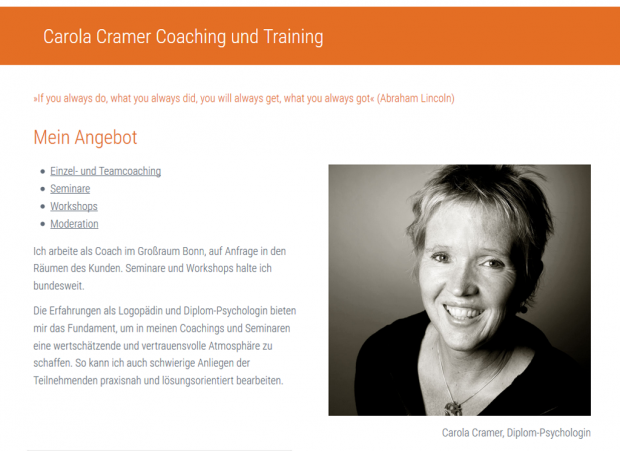 Bildschirmfoto Website Carola Cramer Coaching