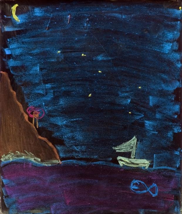 Foto eines Gemäldes: Meer, Nacht, Schiff, Fels