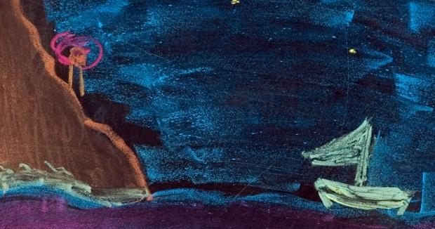 Foto einer Kreidezeichnung Schiff bei Nacht